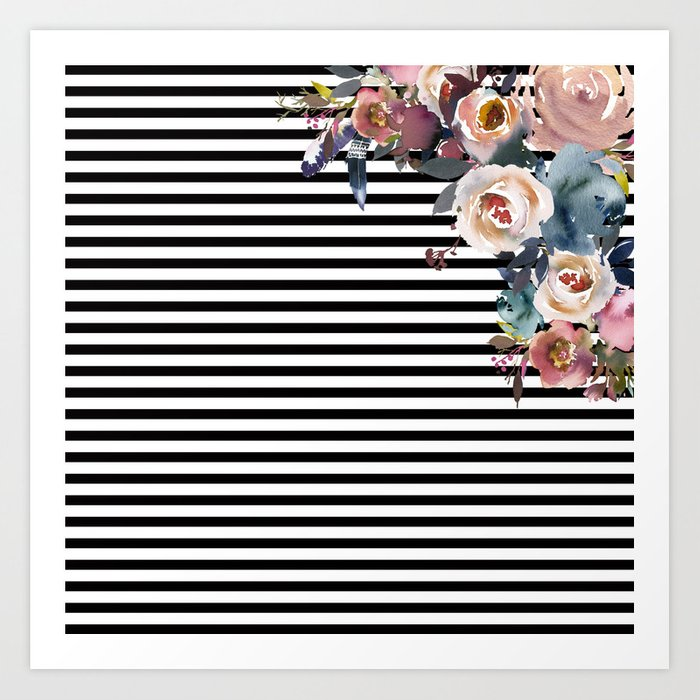 Boho Flowers and Horizontal Stripes Art Print