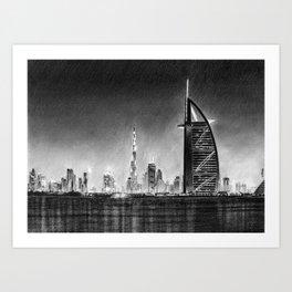 Dubai Cityscape Drawing Art Print