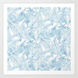 Fern Silhouette Blue Art Print