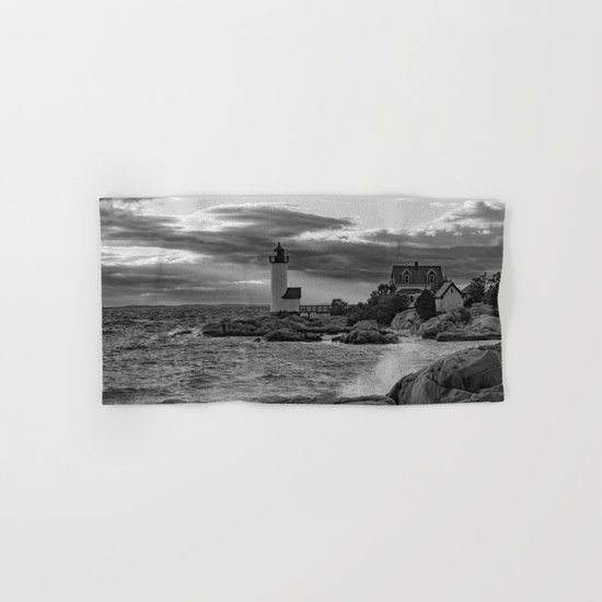 Annisquam Lighthouse Black and white Hand & Bath Towel