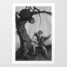 Little Miss Moffit, Slayer of Spiders Art Print