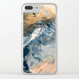 Wander [3]: a vibrant, colorful abstract in blues, pink, white, and gold Clear iPhone Case
