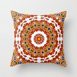 Folkloric mandala Throw Pillow