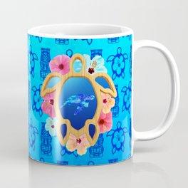 Hawaiian Swimming Turtle And Tiki Masks Coffee Mug