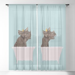 Playful Triceratop in Bathtub Sheer Curtain