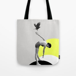 Woman and a Black Bird, Collage Art Tote Bag