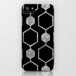 Gold Metallic Hexagon Geometric Pattern iPhone Case