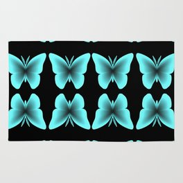 Blue Butterfly Print / Pattern Rug