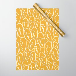 faces (mustard) Wrapping Paper