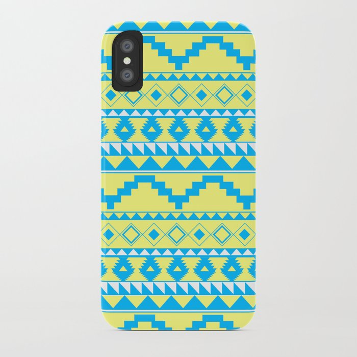 Aztec Pattern 2 Blue & Yellow iPhone Case