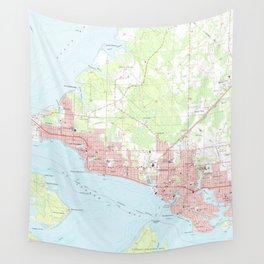Vintage Map of Panama City Florida (1956) Wall Tapestry