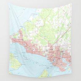 Vintage Map of Panama City Florida (1956) Wall Tapestry