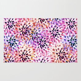 Colorful abstract watercolor flower pattern Rug