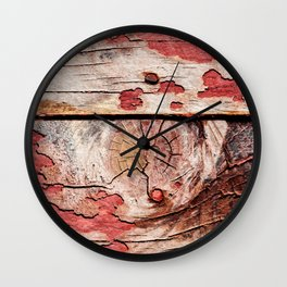 Old Knotty Wooden Planks Wall Clock