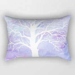 Watercolor Abstract winter oak tree purple background Rectangular Pillow