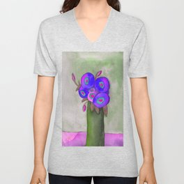 Blue Poppies Watercolor Abstract Unisex V-Neck