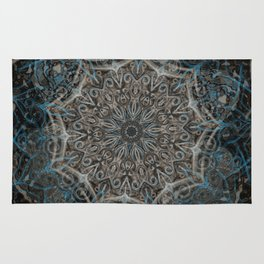 Blue and black Center Swirl Rug