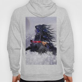 Black Blue Majestic Stallion Indian Horse in Snow Hoody
