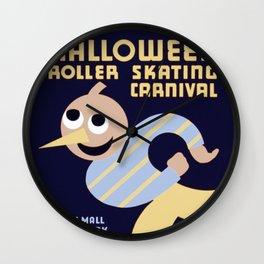 Halloween Roller Skating Carnival Poster, NYC, 1936 Wall Clock