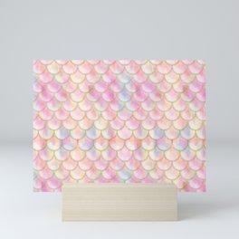 Pastel Iridescent Mermaid Scales Pattern Mini Art Print