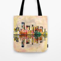 miami Tote Bags featuring miami  by mark ashkenazi