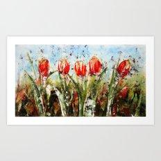 Tulips in Red . Batik Art Print