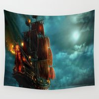 """pirates Wall Tapestries featuring Pirates on sea by """"CVogiatzi."""