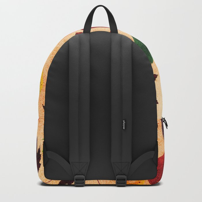 Happy autumn- hearts and leaves pattern Backpack