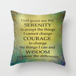 Serenity Prayer Gold on Blue-Green Throw Pillow