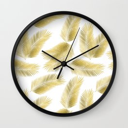 Gold Tropical Palm Leaves Pattern Wall Clock