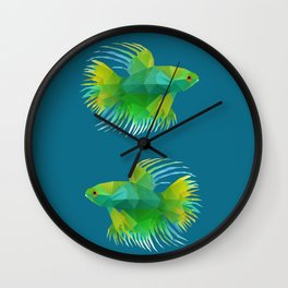 Japanese Fighting Fish. Wall Clock
