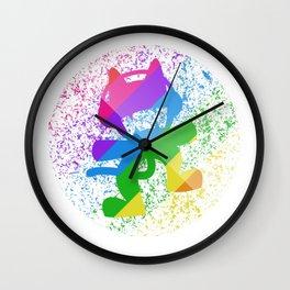 Rainbow MonsterCat Wall Clock