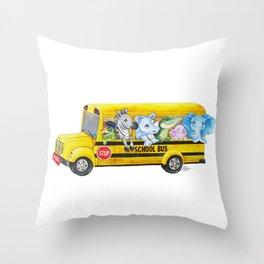Animal SchoolBus Throw Pillow