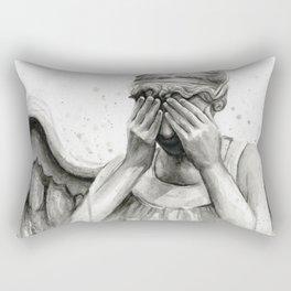 Weeping Angel Watercolor Painting Rectangular Pillow
