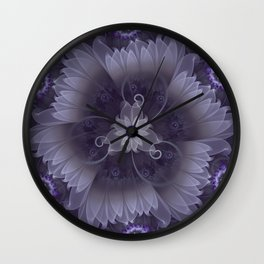 Amazing Fractal Triskelion Purple Passion Flower Wall Clock