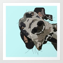 Great Dane in your face (teal) Art Print