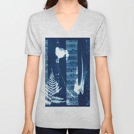 Fragments of the Past (34), art print, collage, blue print, cyanotype print, wall art, wall decor Unisex V-Neck