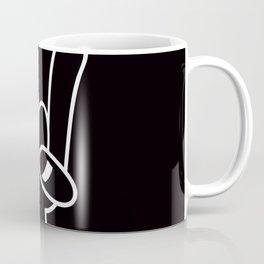 Heavy Metal Devil Horns White Line Coffee Mug