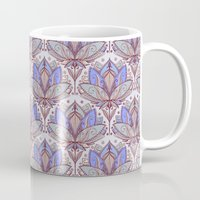 bedding Mugs featuring Art Deco Lotus Rising 2 - sage grey & purple pattern by micklyn