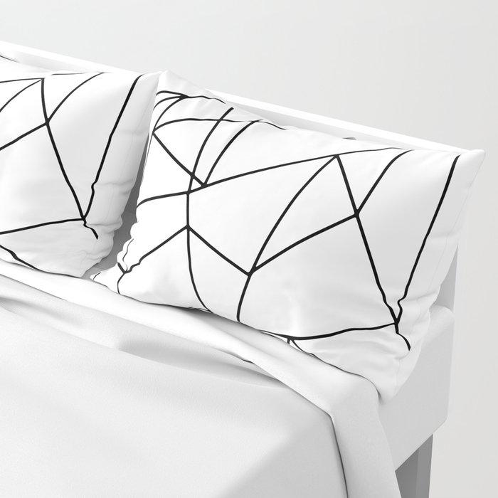 Simple Modern Black and White Geometric Pattern Pillow Sham