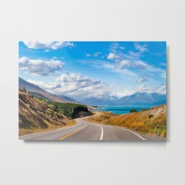 Amazing winding road in Mount Cook NP, most spectacular road trip in New Zealand. Metal Print
