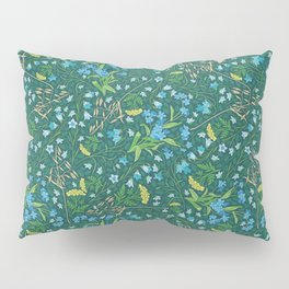 Bluebell and forget-me-nots among yellow tansy and oats Pillow Sham