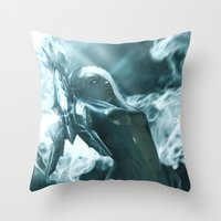 soul eater Throw Pillows featuring Aoelia the Soul Eater by Jiyu-Kaze™