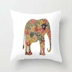 Flower Power Elephant Throw Pillow