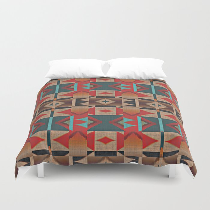 Native American Indian Tribal Mosaic Rustic Cabin Pattern Duvet Cover