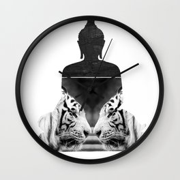 White Tiger Buddha Wall Clock
