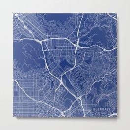 Glendale Map, USA - Blue Metal Print