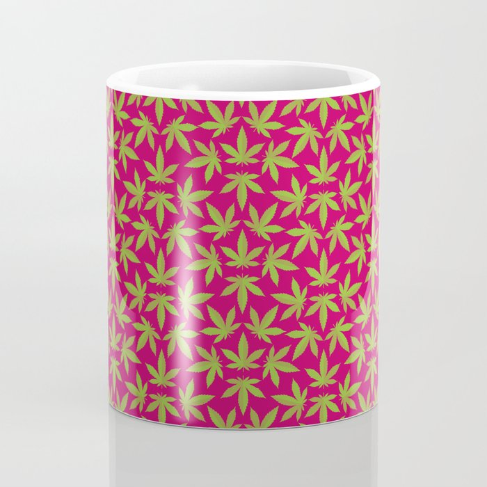 Cannabis Pattern Burgundy Background Coffee Mug