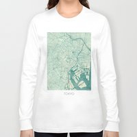 vintage map Long Sleeve T-shirts featuring Tokyo Map Blue Vintage by City Art Posters