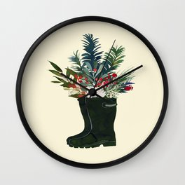 Christmas Boot Floral Bouquet No Text Wall Clock